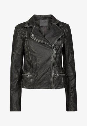 Leather jacket - black/grey