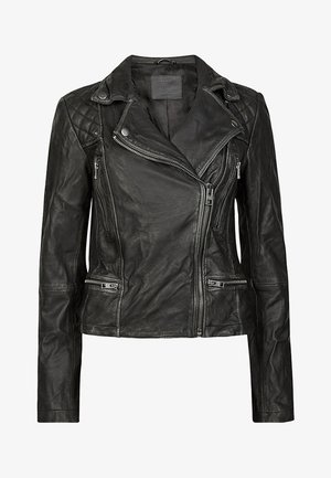 CARGO BIKER - Leather jacket - black/grey