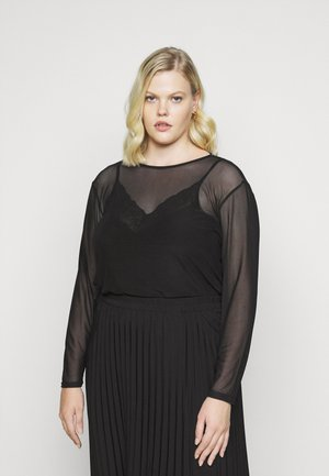 LONGLINE SIDE SPLIT - Blouse - black
