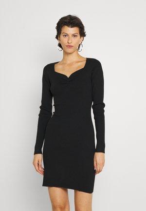 OBERLIN GATHERED DETAIL KNIT DRESS - Pouzdrové šaty - black
