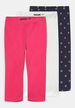 SMALL GIRLS STARS 3 PACK - Legíny - white/navy
