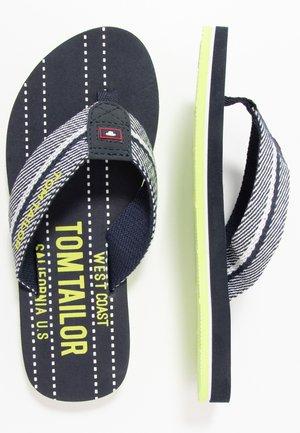 T-bar sandals - navy/white/neon green