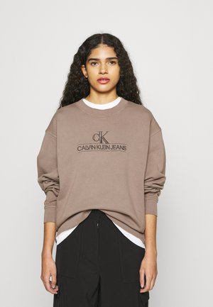 EMBROIDERY ECO WASH CREWNECK - Sweatshirt - dusty brown
