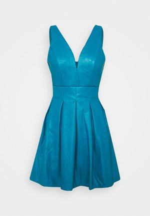 PLEATED SKATER DRESS - Day dress - teal blue