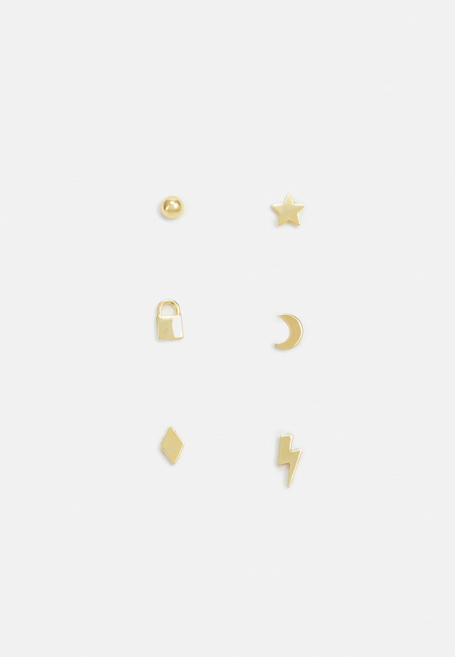 MIXED CHARM STUD EAR PART 6 PACK - Pendientes - pale gold-coloured