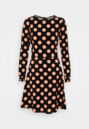 CLUSTER DITSY PUFF SLEEVE SHEERED CUFF - Žerzejové šaty - black