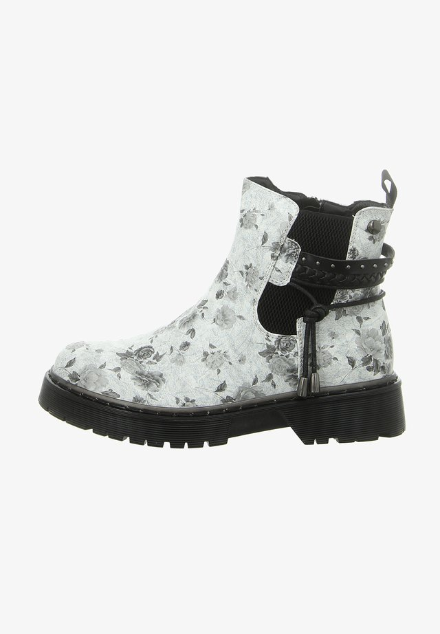 Ankle boots - white silver flower
