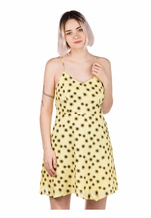 NESSA - Day dress - pastel yellow/flowerprint