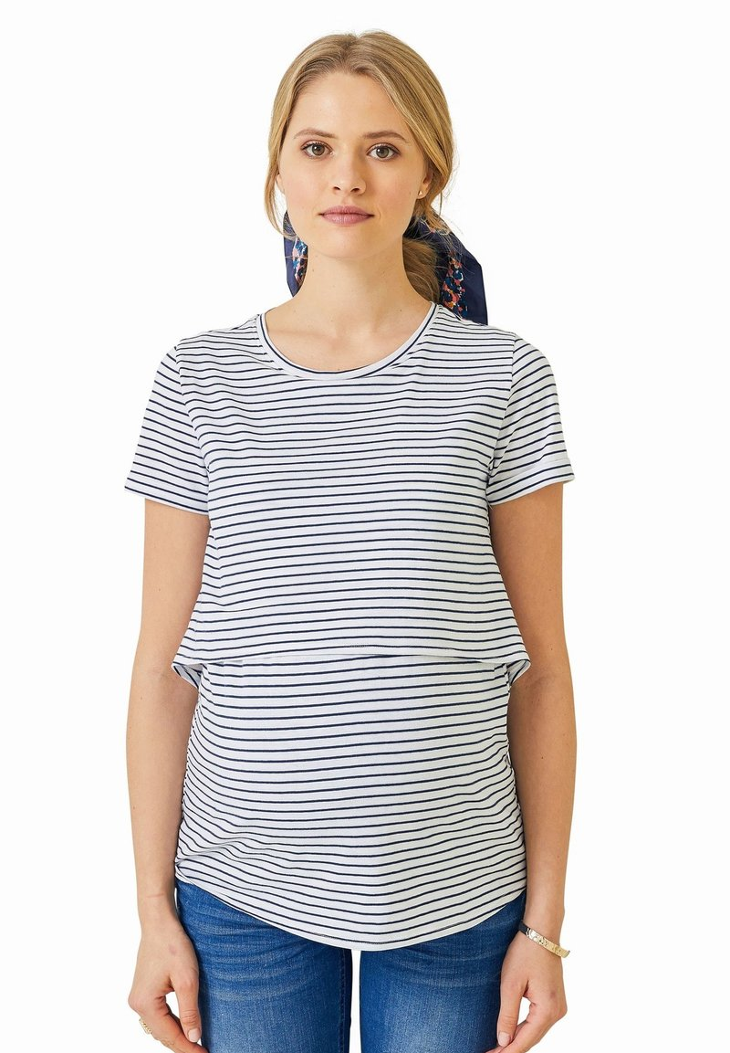 Vertbaudet - Print T-shirt - weiß blau