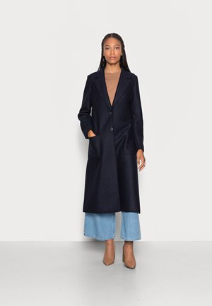COAT BOILED LONG SIDE SLITS PATCHED POCKETS - Classic coat - midnight blue