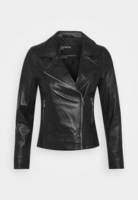 MARJORY - Leather jacket - black