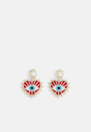 Earrings - red/gold-coloured