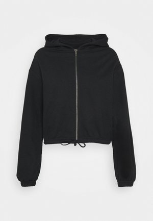 CROPPED TIE HEM SWEAT JACKET - Huvtröja med dragkedja - black