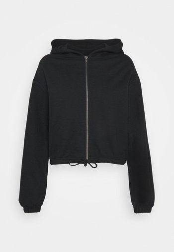 CROPPED TIE HEM SWEAT JACKET - Zip-up sweatshirt - black