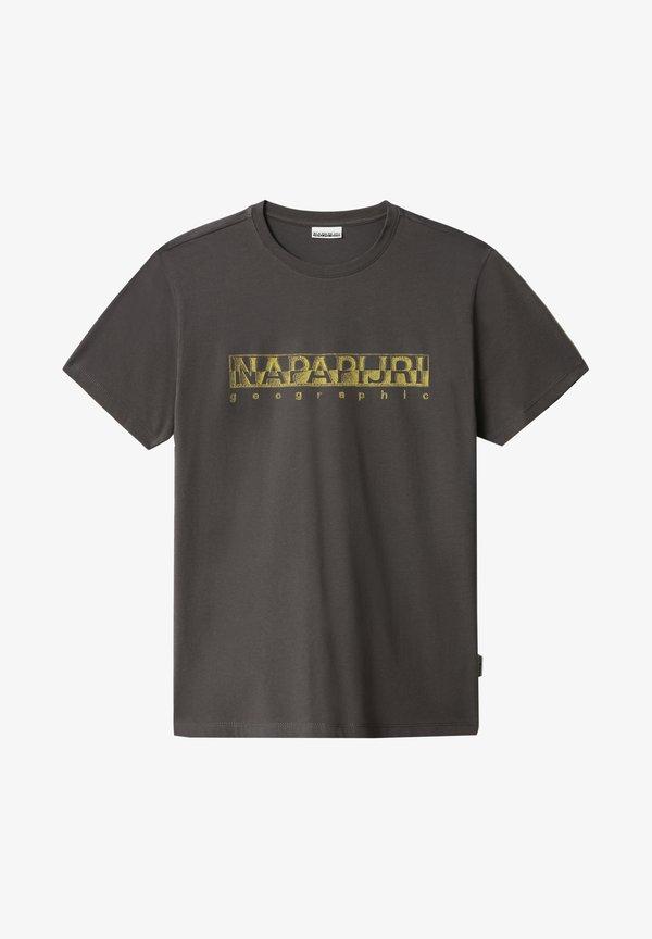 Napapijri SALLAR - T-shirt z nadrukiem - dark grey solid/ciemnoszary Odzież Męska RBOQ