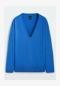 Massimo Dutti - MIT V-AUSSCHNITT - Stickad tröja - blue - 0