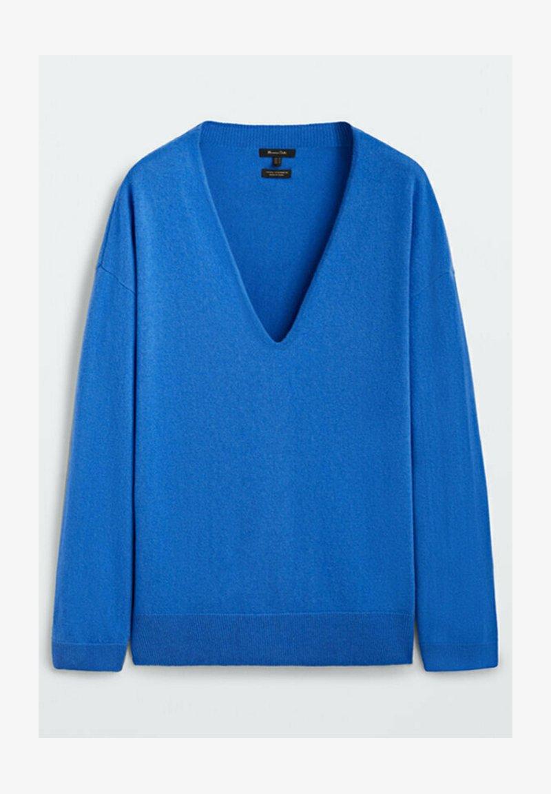 Massimo Dutti - MIT V-AUSSCHNITT - Stickad tröja - blue
