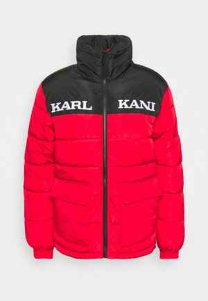 RETRO BLOCK PUFFER JACKET UNISEX - Winter jacket - black/red