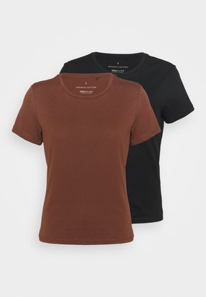 ONLPURE LIFE O NECK 2 PACK - Basic T-shirt - cappuccino/black