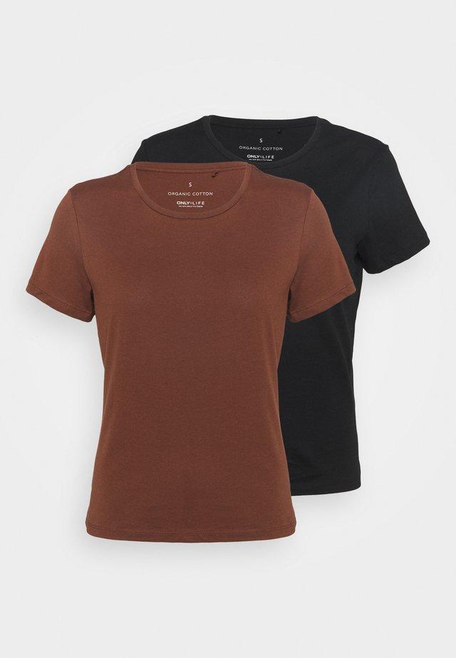 ONLPURE LIFE O NECK 2 PACK - Basic T-shirt - cappuccino/black