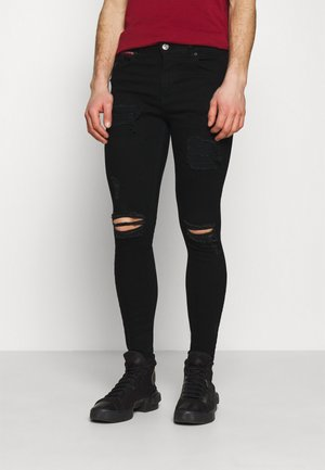 DISTRESSED SKINNY FIT - Skinny džíny - jet black wash