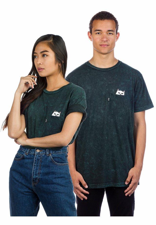 Print T-shirt - aqua mineral wash