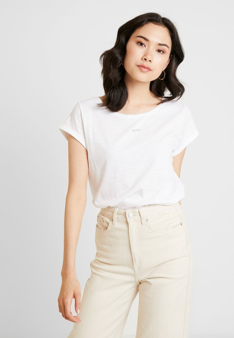 Esprit - LOGO LIBELL - Basic T-shirt - white