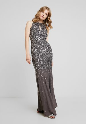 KEYHOLE FRONT ALL OVER EMBELLISHED FISHTAILDRESS - Iltapuku - charcoal