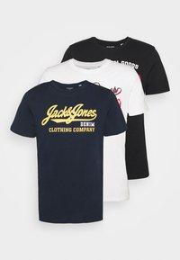 JJELOGO TEE O NECK 3 PACK - Print T-shirt - black