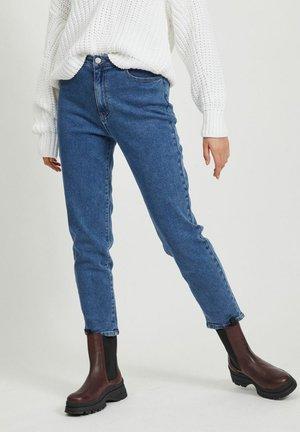 MOM CROPPED - Straight leg jeans - medium blue denim