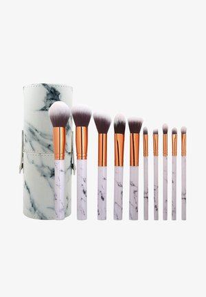 10PK MAKEUP BRUSH, CYLINDRIC CASE - Makeupbørstesæt - mix