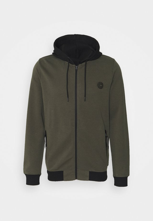 GREASS ZIP - Zip-up hoodie - army
