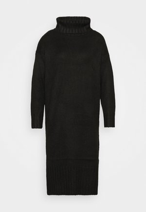 ROLL NECK DRESS - Strikket kjole - black