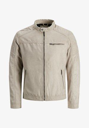 JJEROCKY JACKET - Faux leather jacket - beige