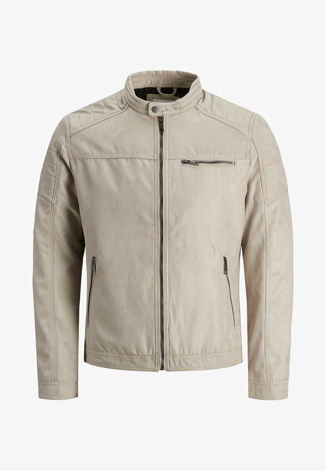 JJEROCKY JACKET - Faux leather jacket - beige