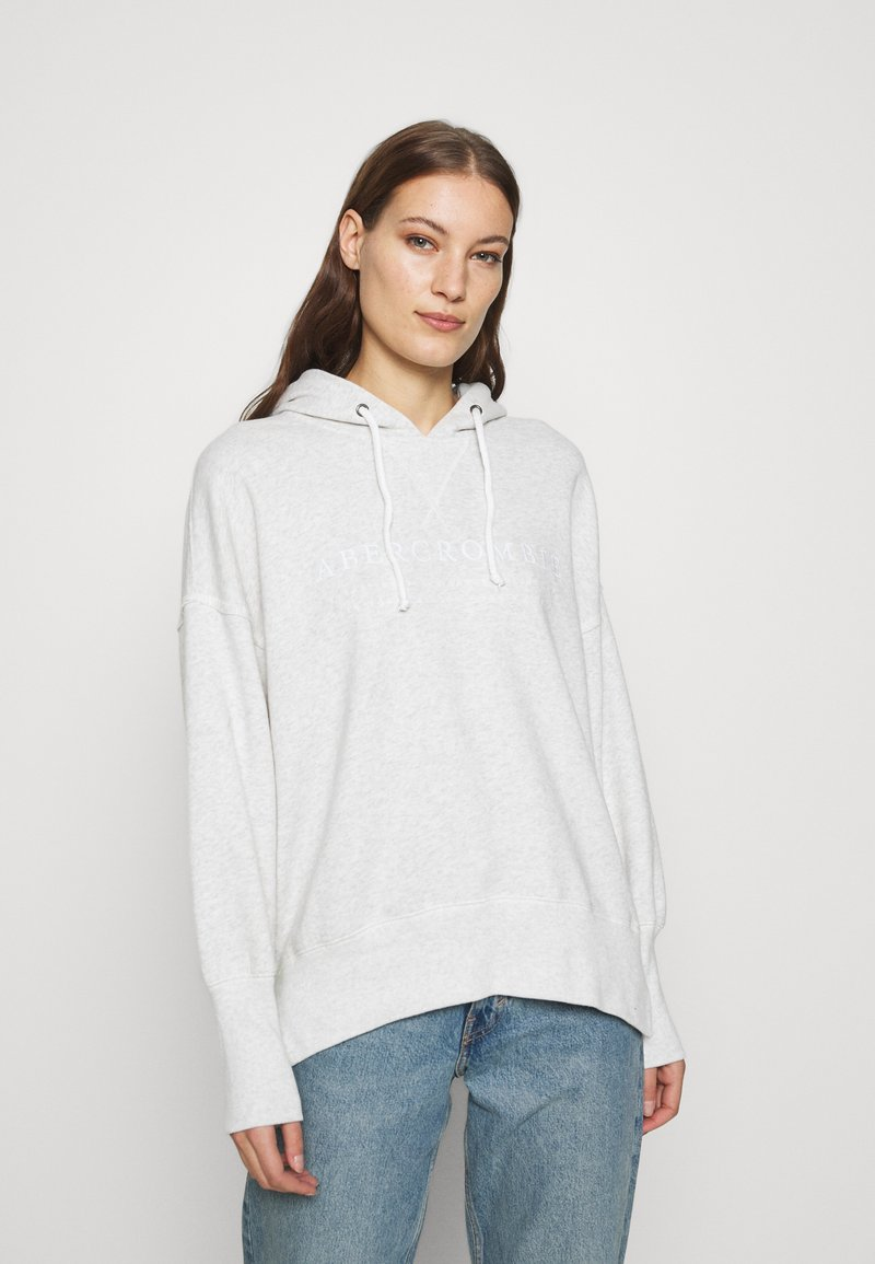 Abercrombie & Fitch - LOGO POPOVER - Hoodie - heather grey