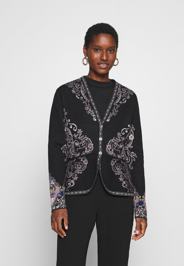 FLORAL PATTERN - Cardigan - black