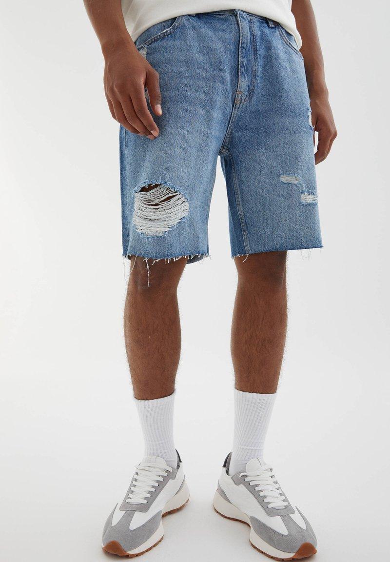 PULL&BEAR - Denim shorts - dark-blue denim