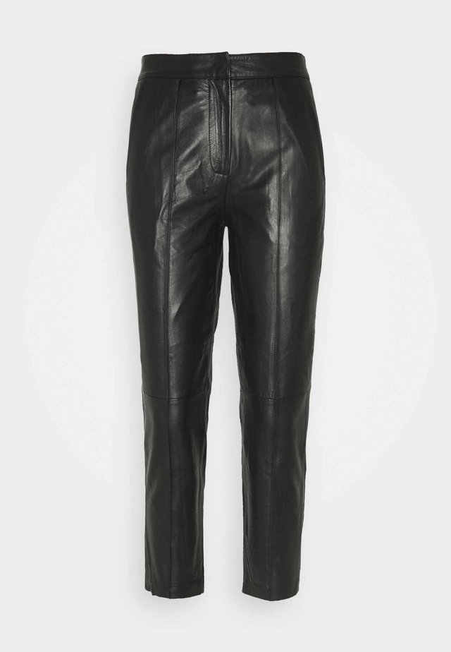 YASLISA CROPPED PANT - Leather trousers - black