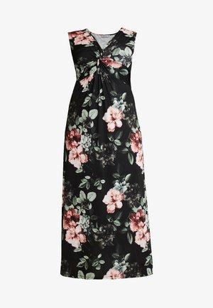 Maxi šaty - black/rose/dark green