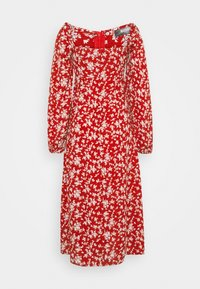 Missguided Tall - MILKMAID SHIRRED BUST MIDI FLORAL - Kjole - red - 1