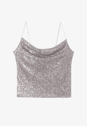 MIT PAILLETTEN - Top - grey