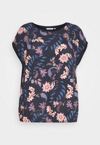 FABRIC MIX - Print T-shirt - navy