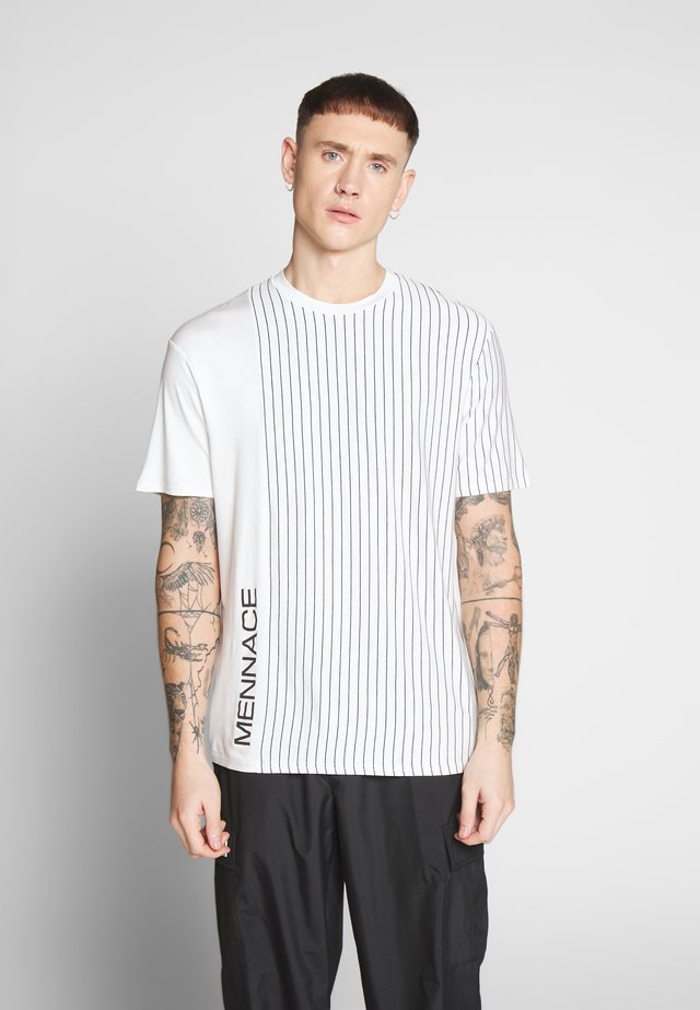 UNISEX VERTICAL STRIPE SIDE PRINT - Printtipaita - white
