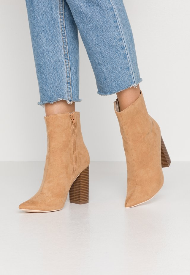 BLOCK BOOT - High heeled ankle boots - brown