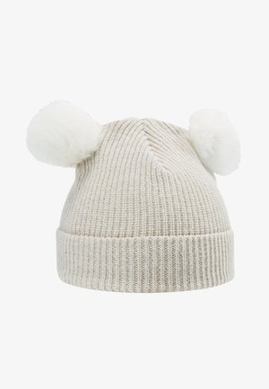 KIDS PATENT FOLD UP POMPOMS - Czapka - white/white