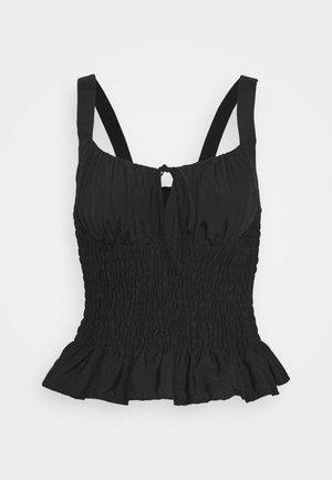 PLAIN SHIRRED CAMI - Blusa - black