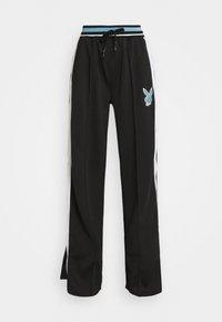 Missguided - PLAYBOY VARSITY WIDE LEG TRICOT PANTS - Tracksuit bottoms - black - 3