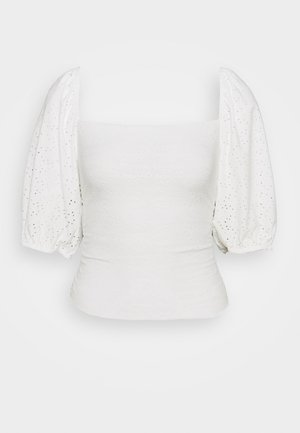 MILKMAID BRODERIE CROP - T-shirts print - white