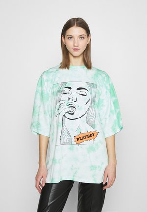 PLAYBOY TIE DYE COMIC GRAPHIC OVERSIZED - Print T-shirt - mint